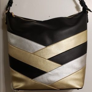 Silver and Gold Stripped Handbag